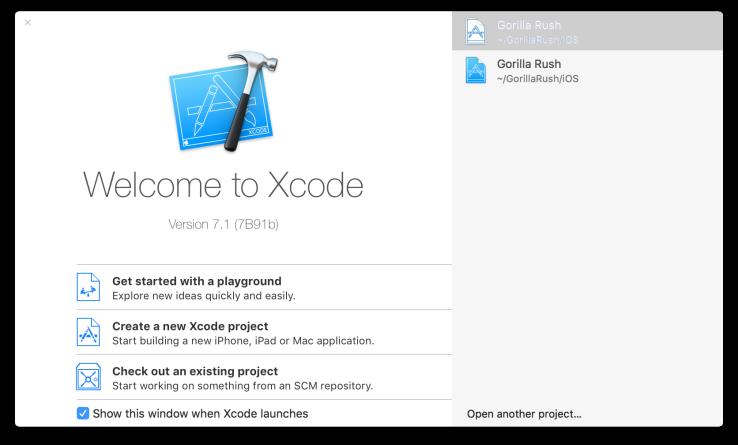 Ventana inicio de Xcode