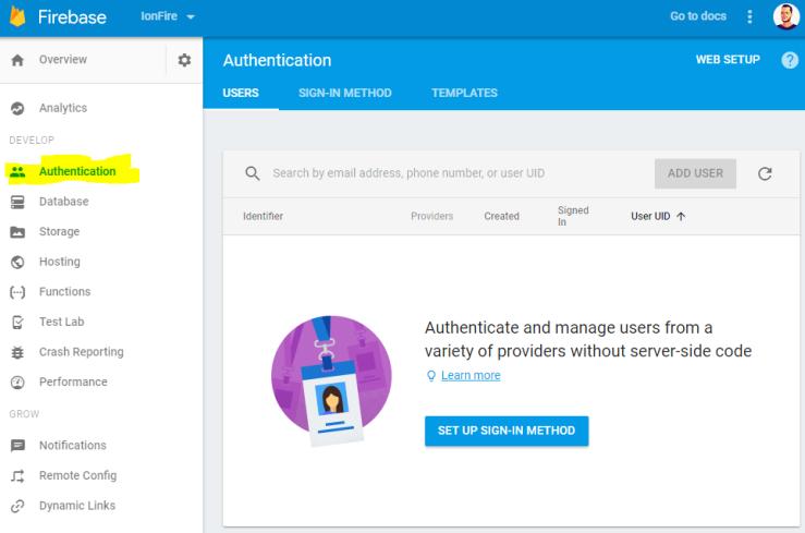 Servicio de autenticación de Firebase