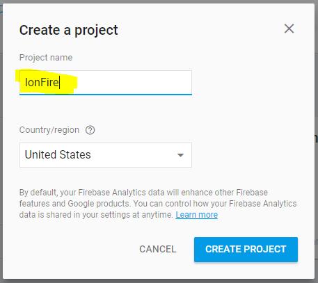 Nuevo proyecto de Firebase