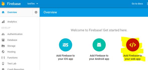 Opciones para configurar aplicaciones en Firebase
